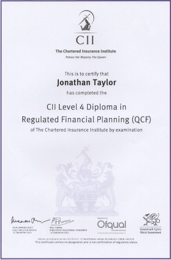 jonathan taylor studio wealth management  cii level 4 diploma in regulated financial planning