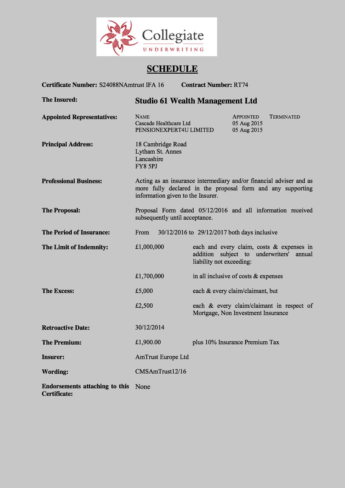 Pi Certificate 2017 Studio 61 Wealth Management