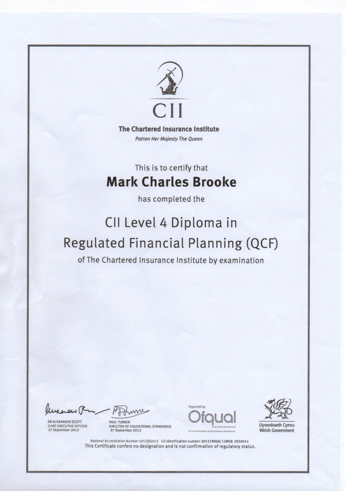 CII-Diploma-in-Regulated-Financial-Planning-Level-4-QCF-for-Mark-Brooke-2016-09-09