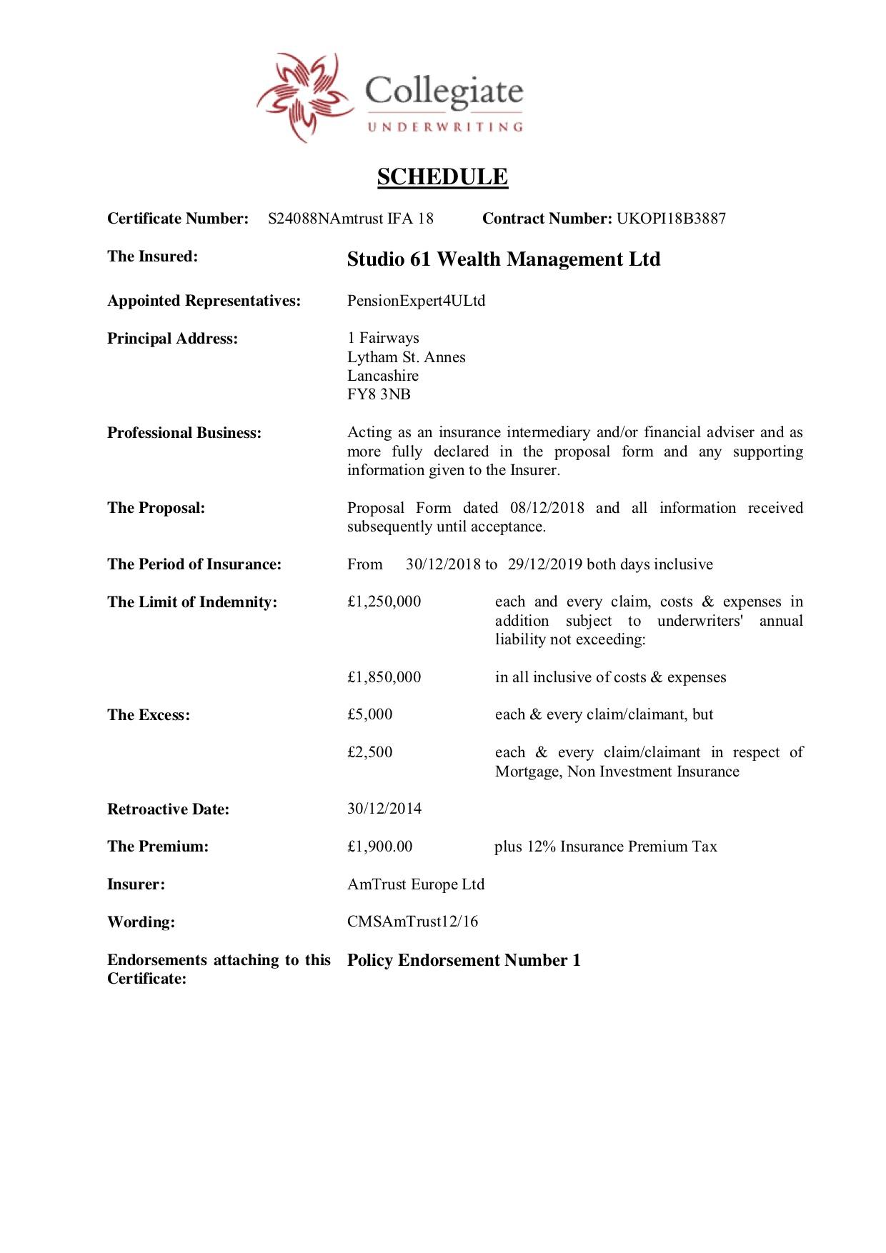 2019.02.12 1a Professional Indemnity Insurance Schedule Studio 61 Wealth Management Ltd
