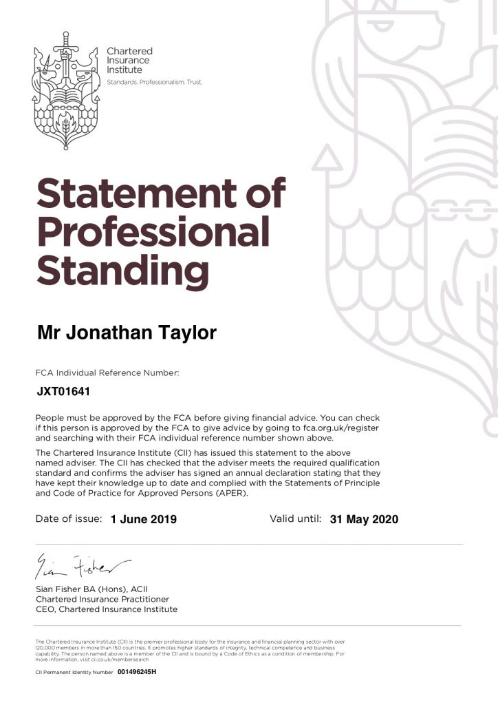 Statement of Professional Standing Certificate 2019