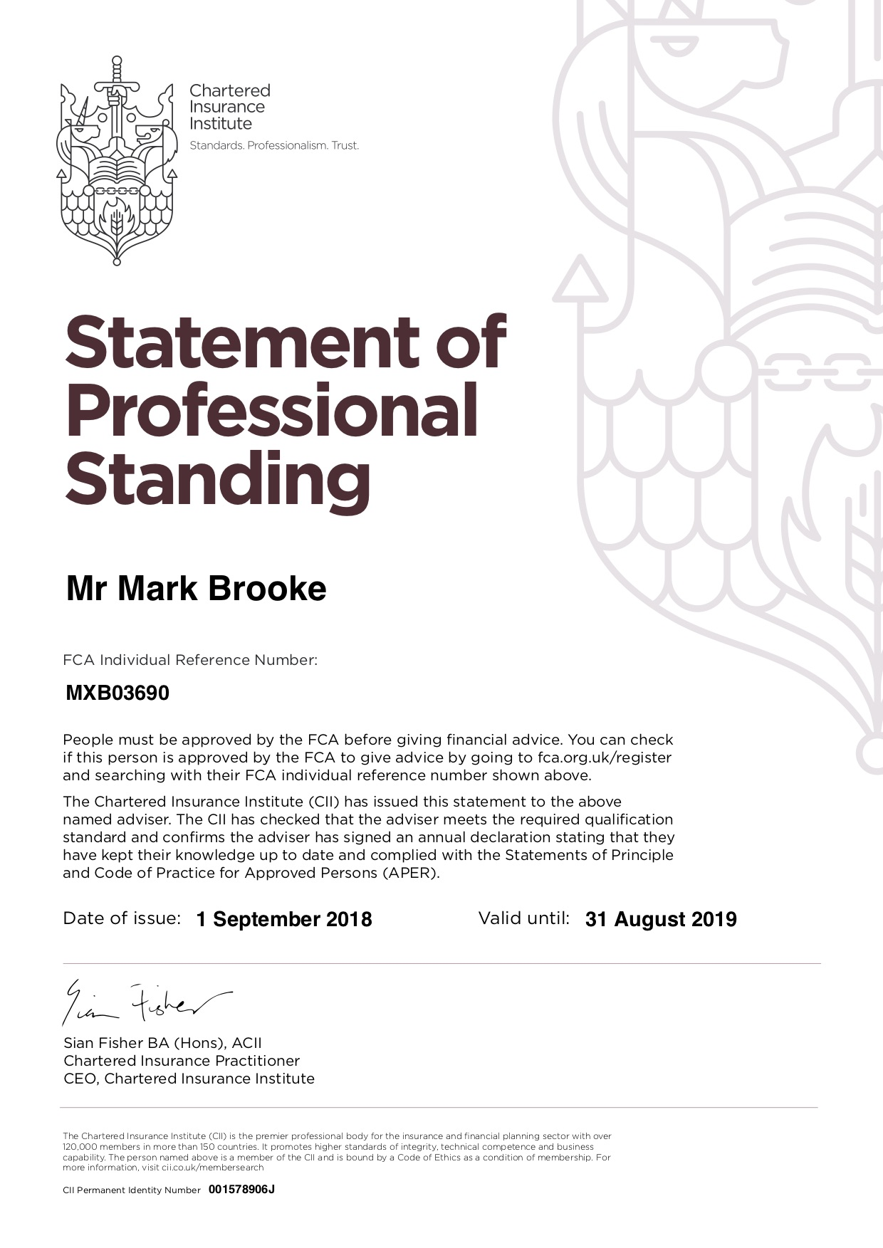 Statement of Professional Standing 2018 2019