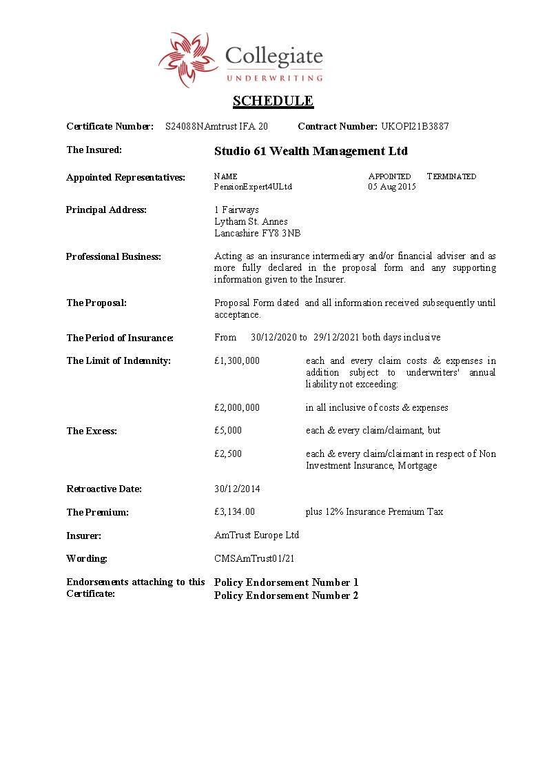 Studio 61 Wealth Management Ltd – Certificate