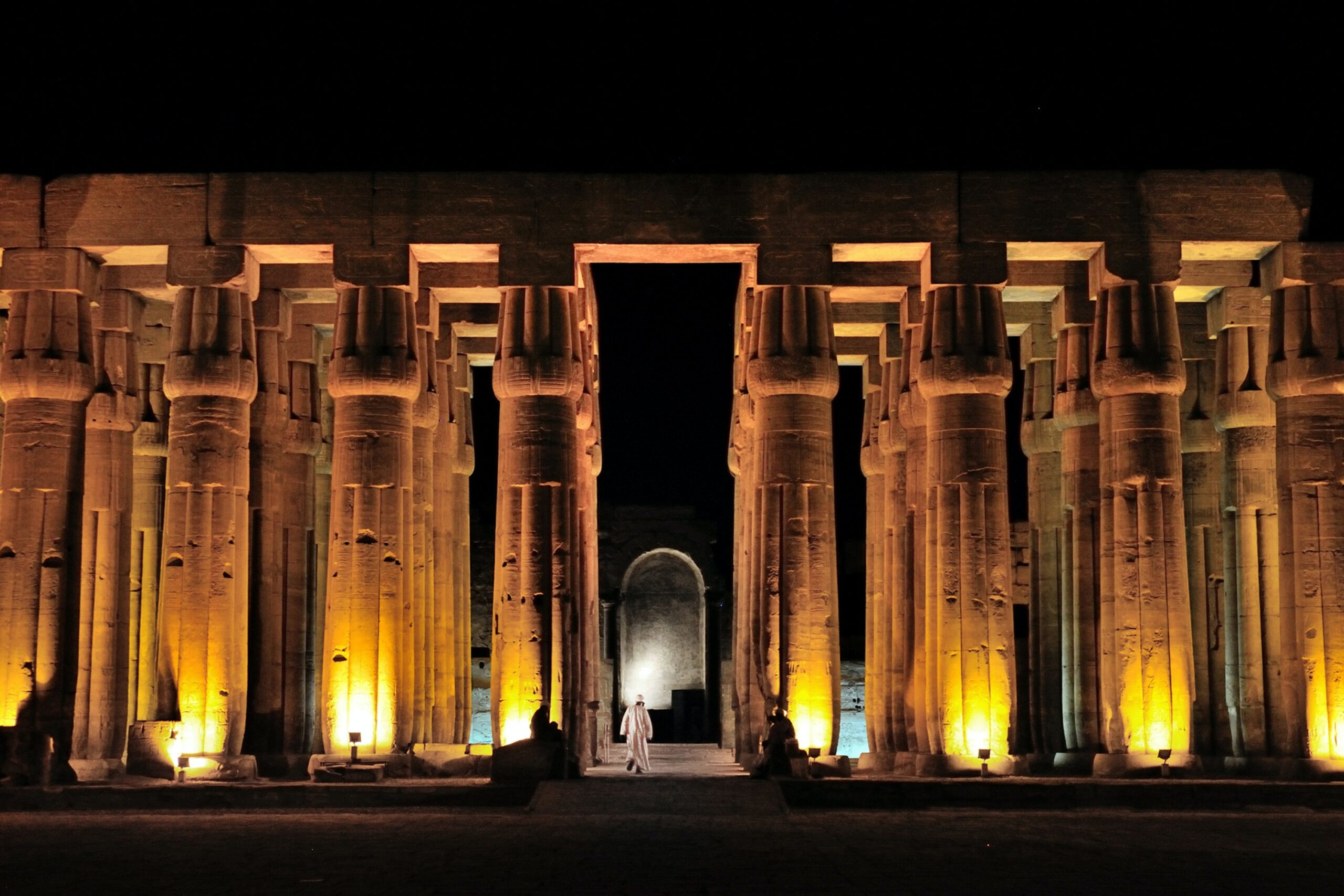 Egyptian temple at night